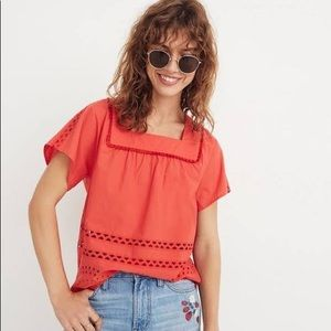 NWT Madewell Eyelet Orange Angelica Blouse Small